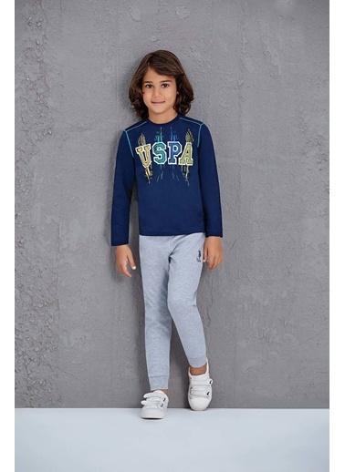 U.S. Polo Assn. Us Polo Assn Lisanslı Erkek Çocuk Pijama Takımı Lacivert Gri